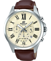 47.20mm Silver chrono with brown leather strap