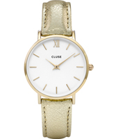 CL30036 Minuit Ladies watch on gold metallic leather strap