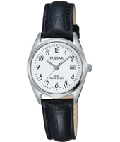 26mm Classic steel ladies watch, leather strap
