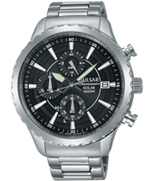 44mm Steel gents quartz chronograph solar